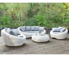 Conjunto de jardín WHITEHEAVEN de resina trenzada blanca: sofá, 2 sillones y mesa de centro