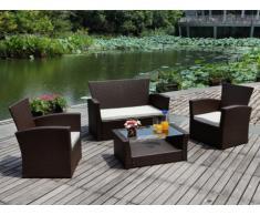 Conjunto de jardín AREQUIPA de resina trenzada color chocolate: sofá 2 plazas, 2 sillones y mesa de centro - Asiento beige