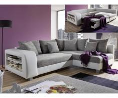 Sofá cama rinconero de tela y piel sintética KUOPIO - Gris/blanco - Ángulo derecho