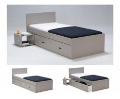 Cama con cajón y mesa de noche PACOME - 90x190 cm - Lacado gris topo