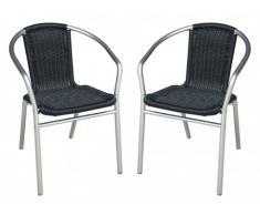 Conjunto de 2 sillas de jardín de aluminio y resina trenzada FIZZ - Negro