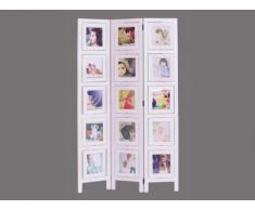 Biombo 3 paneles AGNES de paulownia - 93x161 cm - Con espacio para colocar fotos - Blanco