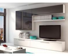Mueble TV mural MAKASAR con espacios de almacenaje - Lacado gris antracita y blanco
