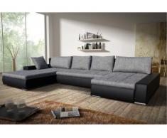 Sofá cama rinconero XXL bimaterial SEDUCTO - Ángulo reversible - Bicolor gris/negro