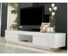 Mueble TV BRADY - MDF lacado blanco & cristal templado - 2 puertas & 1 hueco