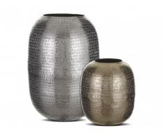 Conjunto de 2 floreros de aluminio KEBI - Alto 26 y 43 cm - Plateado y dorado