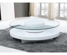 Mesa de centro RYHALI - Tablero giratorio - Cristal templado y MDF blanco