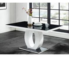 Mesa de comedor TWIST - 6 comensales - MDF lacado y cristal templado - Negro y blanco