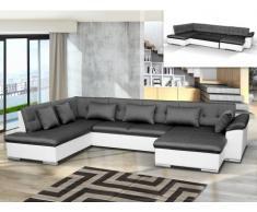Sofá cama rinconero XXL de tela y piel sintética JAKE - Blanco/gris antracita - Ángulo derecho