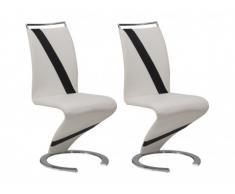 Conjunto de 2 sillas TWIZY - Piel sintética - Blanco con borde negro