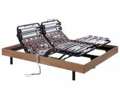 Somier eléctrico de láminas y terminales con estructura de madera de roble color marrón topo de DREAMEA -2x80x200 cm motores OKIN