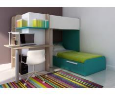 Cama litera SAMUEL - 2x90x190 cm - Escritorio integrado - Pino blanco/turquesa