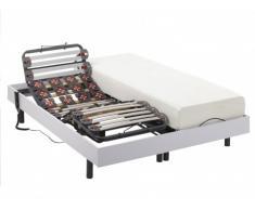 Cama eléctrica de láminas y terminales - HEDONA de NATUREA - motores OKIN - color blanco - 2x70x190cm