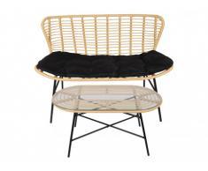 Sofá 2 plazas + mesa de centro de jardín NICOYA de resina trenzada - Asiento negro