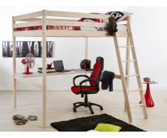 Cama alta GEDEON - 140x190 cm - Con escritorio - Pino macizo - Blanqueado
