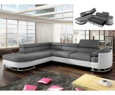 Sofá cama rinconero tapizado de tela y piel sintética MYSEN - Blanco y gris- ángulo izquierdo