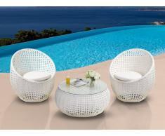 Conjunto para jardín CAZAS de resina trenzada - Blanco: 2 sillones y una mesa