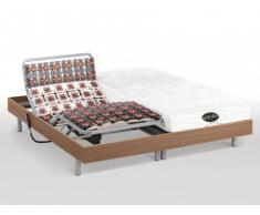 Cama eléctrica con memoria de forma y bambú LYSIS III de NATUREA - Motores OKIN - 2x90x200 cm - Roble marrón topo
