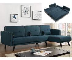 Sofá cama modular CALOBRA tapizado de tela - azul pato