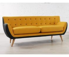 Sofá 3 plazas de tela SERTI - Amarillo con borde gris
