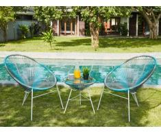 Conjunto de jardín ALIOS II de fibras de resina trenzada - Antracita, azul y gris claro: 2 sillas y una mesa