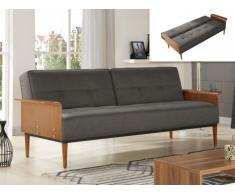 Sofá cama de 3 plazas tapizado de tela VAGLI - Gris