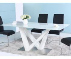 Mesa de comedor NUTSY - 6 comensales - MDF y cristal templado - Blanco
