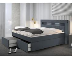 Conjunto boxspring completo cabecero con luces LED + somier + Colchón + cubrecolchón BARI - 2x80x200cm - Piel sintética azul