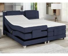 Pack boxspring cabecero + somieres de relajación eléctricos + colchones + cubrecolchón CASTEL de PALACIO - 2x80x200cm - Tela azul