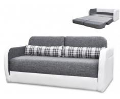 Sofá cama 2 plazas de tela y piel sintética VILO - Blanco y gris