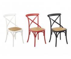 Conjunto de 6 sillas TARIK - Madera y asiento de mimbre - Blanco