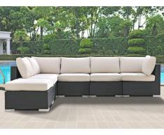 Conjunto de jardín ALANDA: sofá modular 5 plazas + 1 puf - Gris antracita