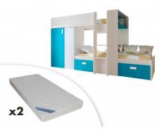 Cama litera JULIEN - 2x90x190 cm - Armario integrado - 3 colores - Marrón topo y azul + 2 colchones ZEUS 90x190