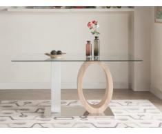 Mesa de comedor AYANE - Cristal templado y MDF - Roble y Blanco