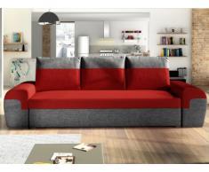 Sofá-cama de 3 plazas GABY de tela - Bicolor rojo y antracita