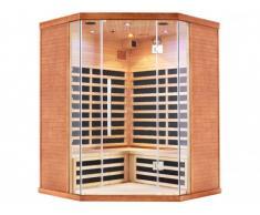 Sauna de infrarrojos de 4/5 plazas rinconera Gama Prestige ROSKILDE Ancho 150 x Prof. 150 x Alt. 200cm - 2830 W
