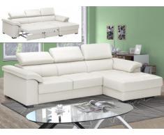 Sofá cama rinconero de piel superior EXPERIENCIA - Blanco marfil - Ángulo derecho