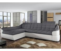 Sofá cama rinconero tapizado de tela y piel sintética FAREZ - Bicolor gris y blanco - Ángulo izquierdo