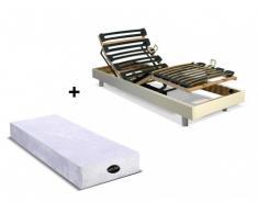 Cama eléctrica articulada con colchón natural memoria de forma PARURE de NATUREA - Blanco - 70x190 cm