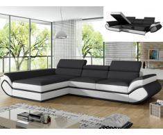 Sofá cama rinconero tapizado de piel sintética ORLEANS - gris y blanco - ángulo izquierdo
