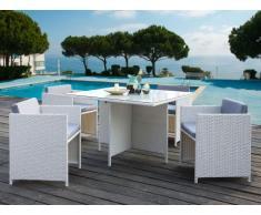 Comedor de jardín BORNEO de resina trenzada y cristal templado: 4 sillones y una mesa - Asiento gris