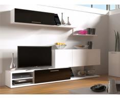 Mueble TV mural VENICIA con espacio de almacenaje - Negro lacado y blanco