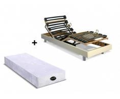 Cama eléctrica articulada con colchón natural memoria de forma PARURE de NATUREA - Blanco - 90x200 cm