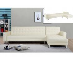 Sofá cama rinconero WILLIS - Ángulo reversible - Piel sintética - Blanco