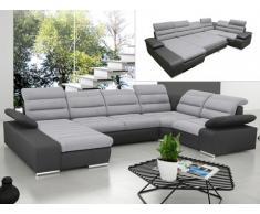 Sofá cama rinconero XXL de tela y piel sintética BOILEAU - Bicolor gris claro y gris antracita - Ángulo izquierdo