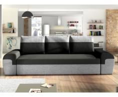 Sofá-cama de 3 plazas GABY de tela - Bicolor negro y gris claro
