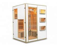 REBAJAS - Sauna de infrarrojos 3/4 plazas MIKELI III - Gama Prestige - Blanco