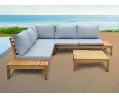 Conjunto de jardín ESTELI de madera de eucalipto - un sofá rinconero y una mesa de centro - asiento azul