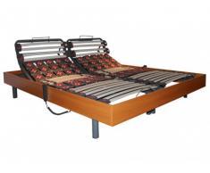 Somier eléctrico de láminas y 2x30 terminales con estructura de madera color cerezo de DREAMEA - 2x90x200cm - motores OKIN