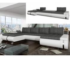 Sofá cama rinconero XXL de tela y piel sintética AZELMA - Ángulo reversible - Blanco y gris